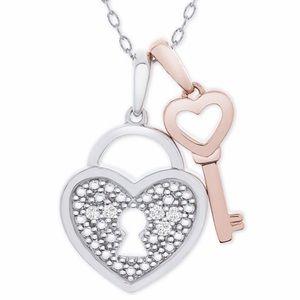 Jewelry - 💫 NEW 💫 Diamond Accent Heart Lock & Key Necklace